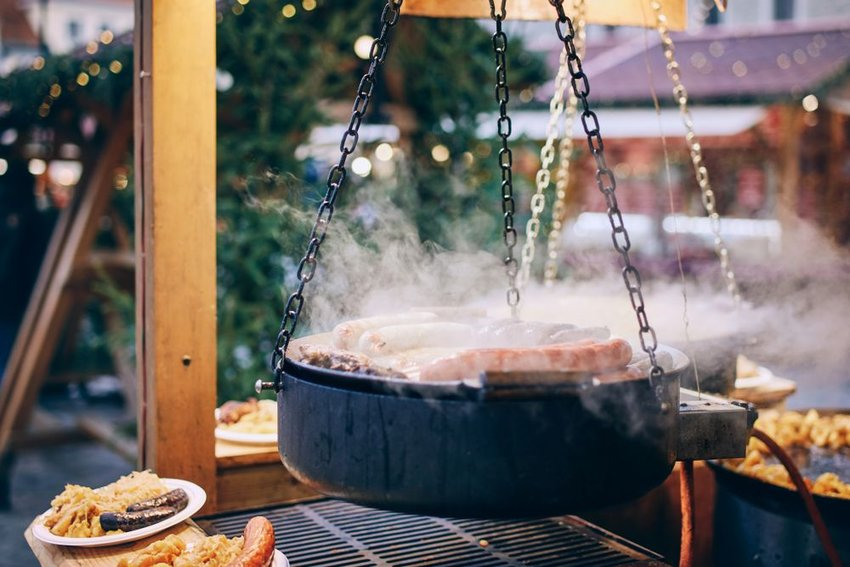 Meat cooking at Christmas market in Tallinn