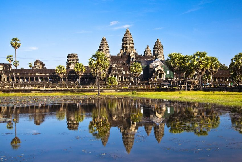 Angkor Wat seen from across a lake