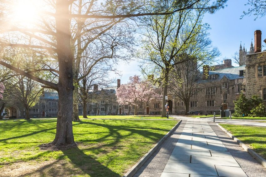 Campus of Princeton University with brick buildings and trees