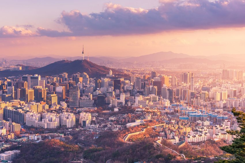 Aerial view of Seoul, South Korea at sunset