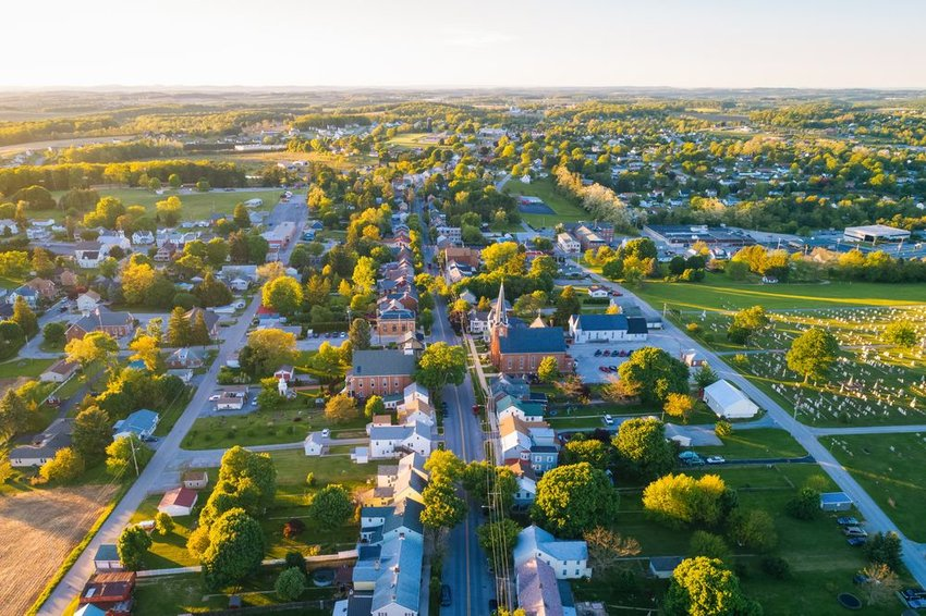 Aerial view of small town in Pennsylvania