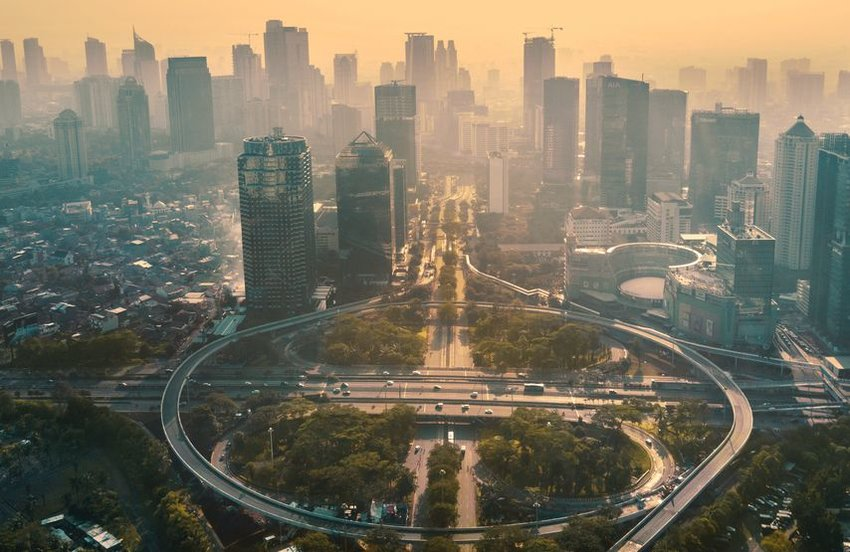 Skyline of Jakarta skyscrapers and highway