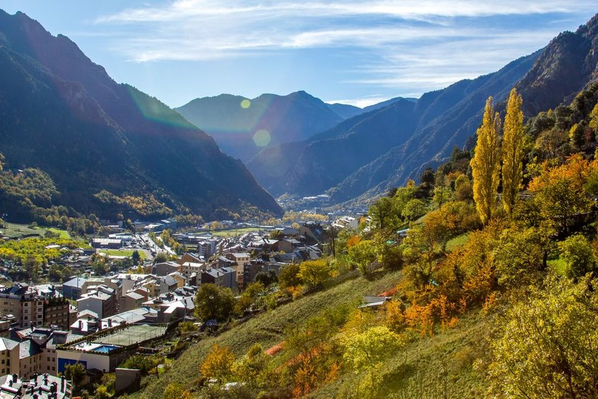 View on Andorra surrounded by mountains