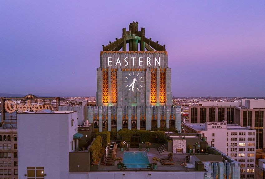 Top of the Eastern Columbia Building after sunset