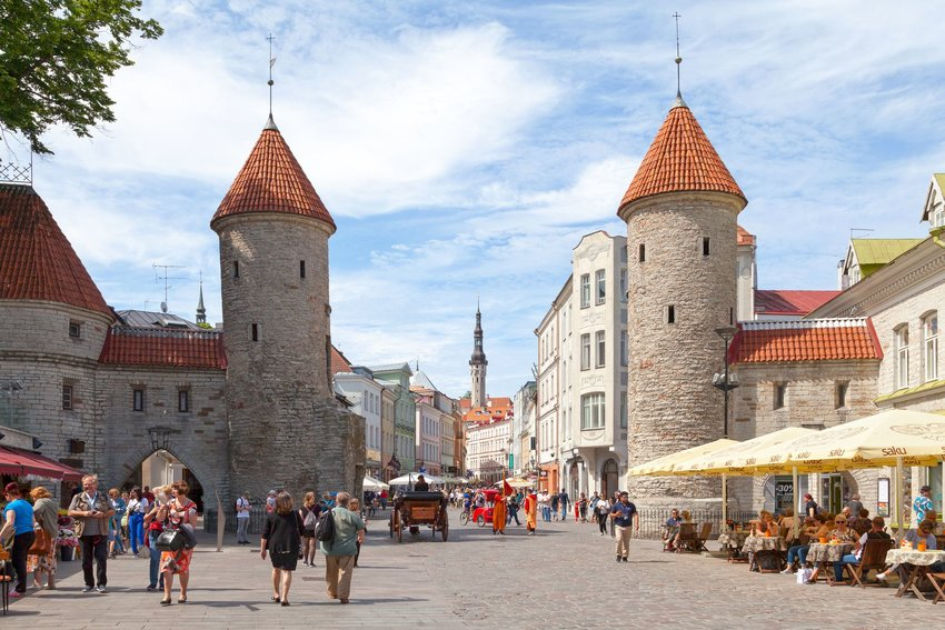 Old Town Tallinn with crowds