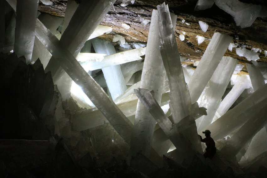 Inside of Cave of Crystals with person standing