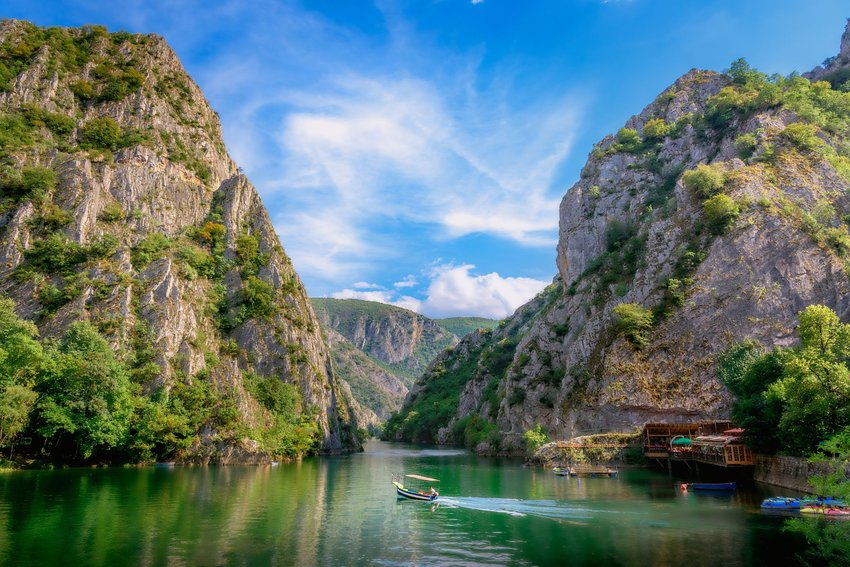 River canyon with boats in Macedonia