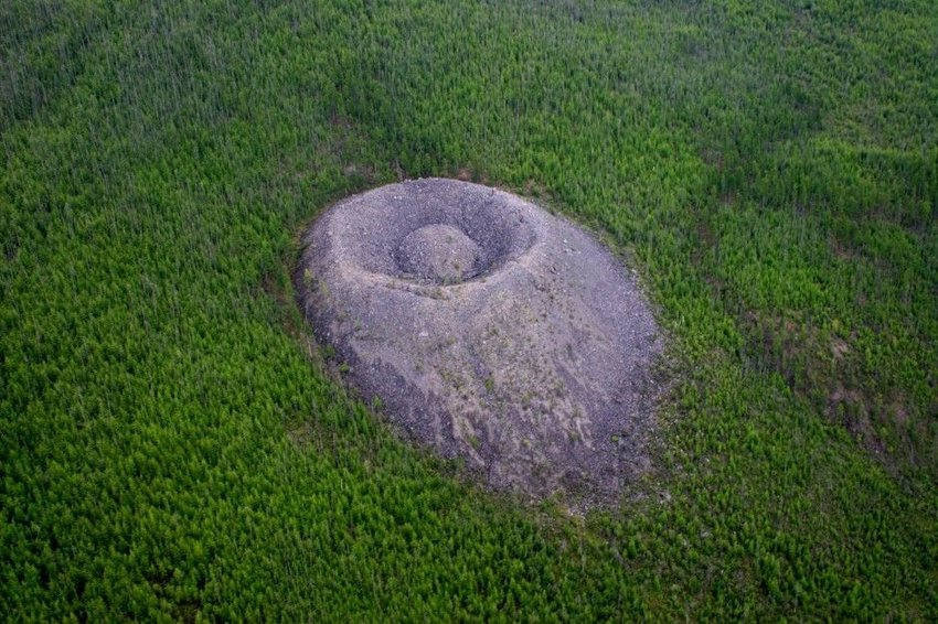 Crater in Siberian forest