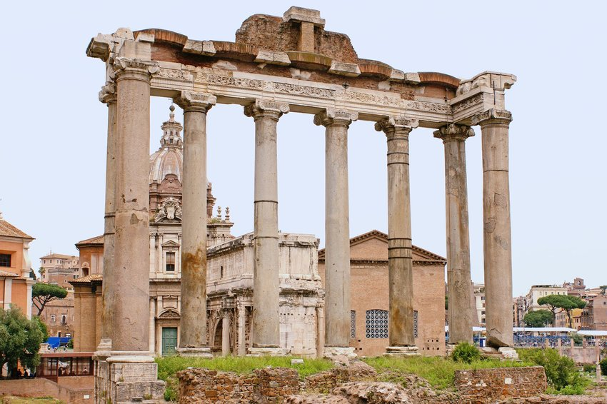 Remainder of Saturn Temple in modern-day Rome