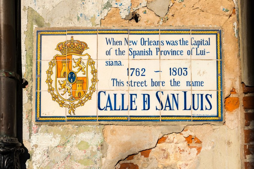 Historical street sign in French Quarter of New Orleans