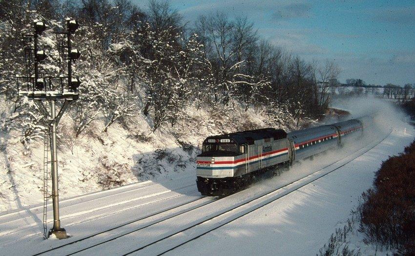 Amtrak train in Lyons, New York