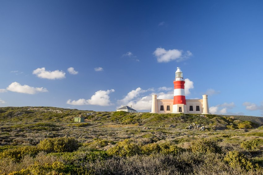 Red and white striped lighthouse at Cape Agulhas