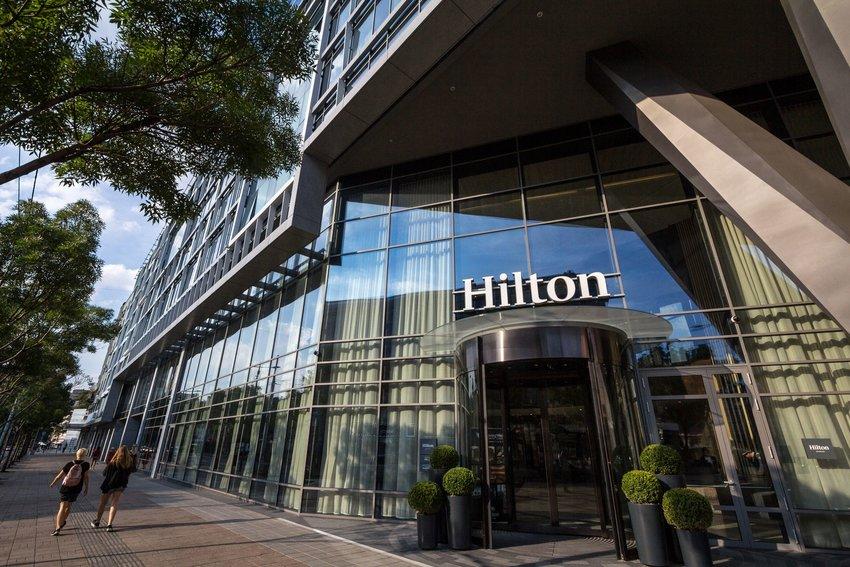 Hilton entrance on city street