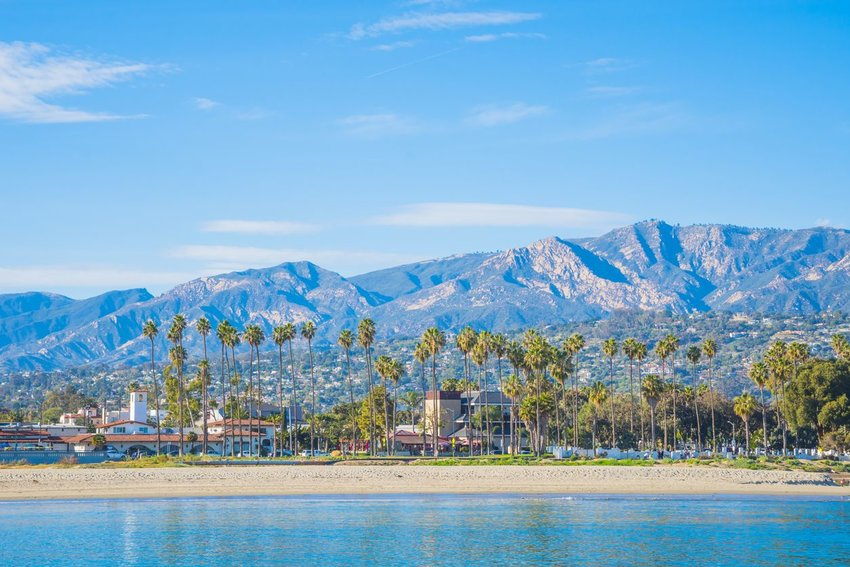Santa Barbara with palm springs and mountains