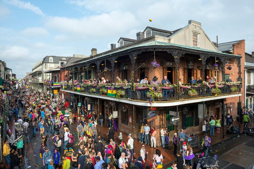 Crowds of people in New Orleans