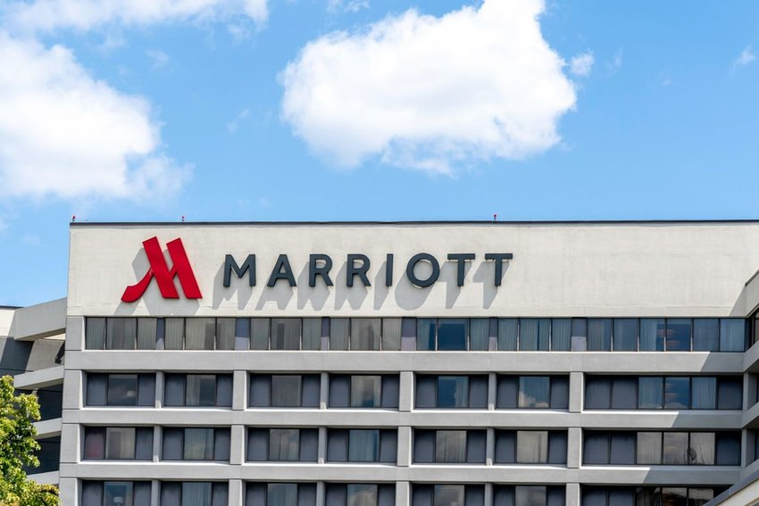 Exterior of a Marriott hotel with a big sign