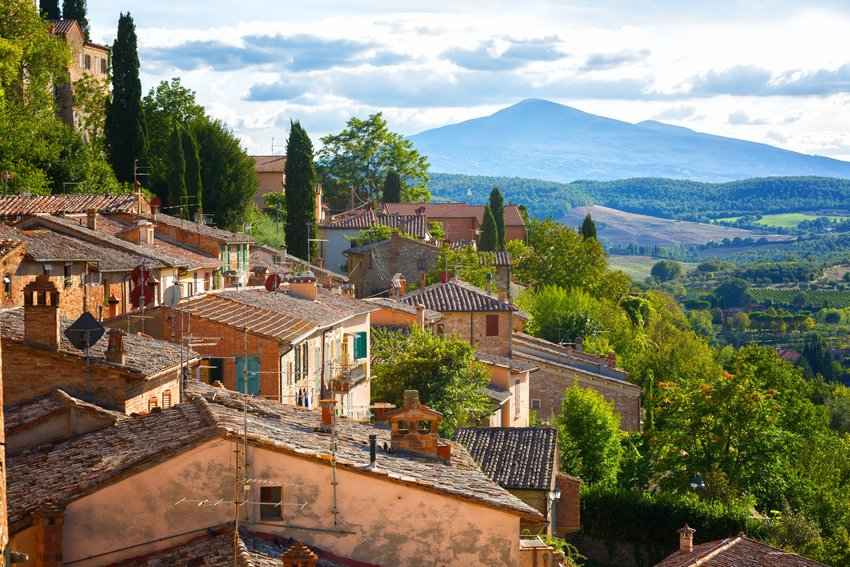 Montepulciano rooftops and landscape
