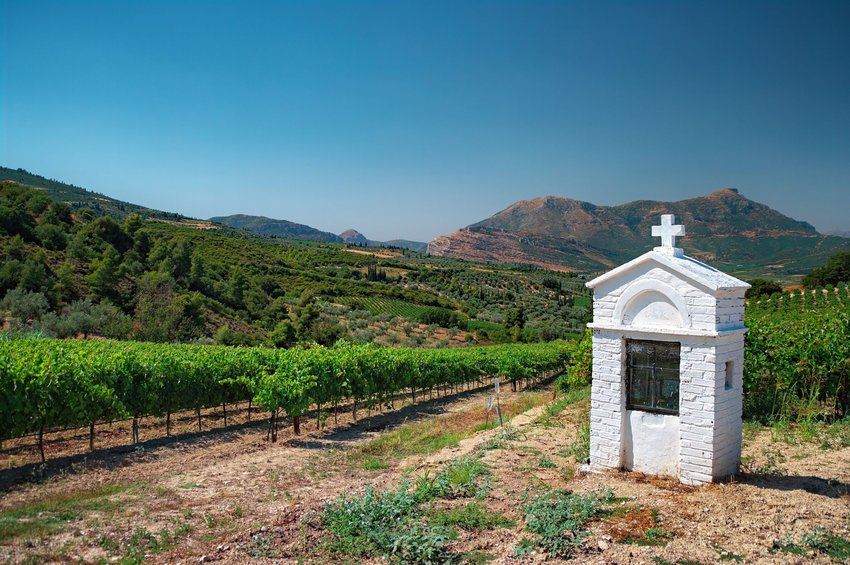 White votive shrine at a Nemea vineyard