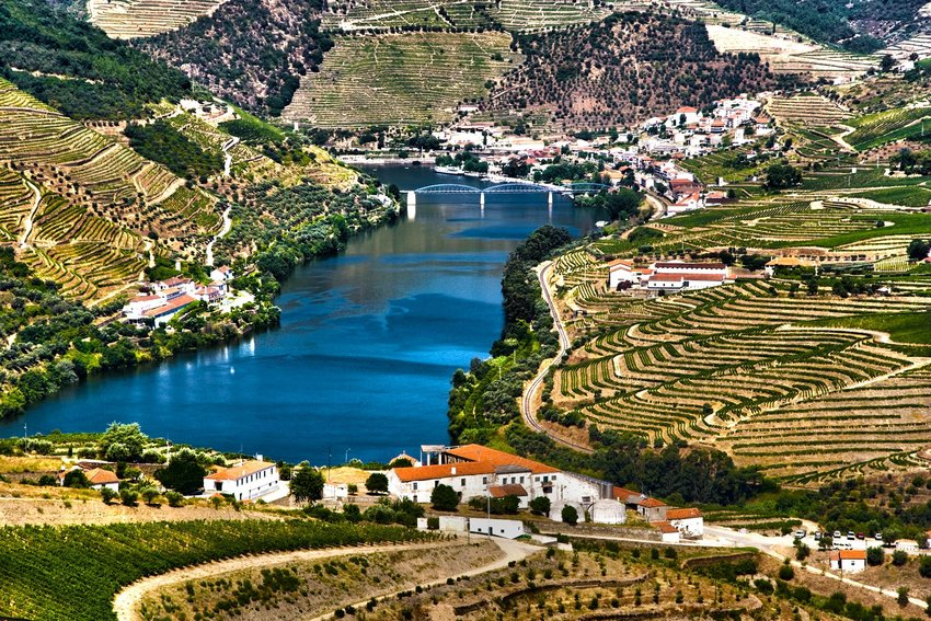 Valley, vineyards, and river in Pinhão region