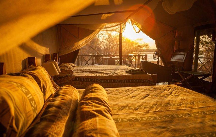 Safari lodging with sun streaming in