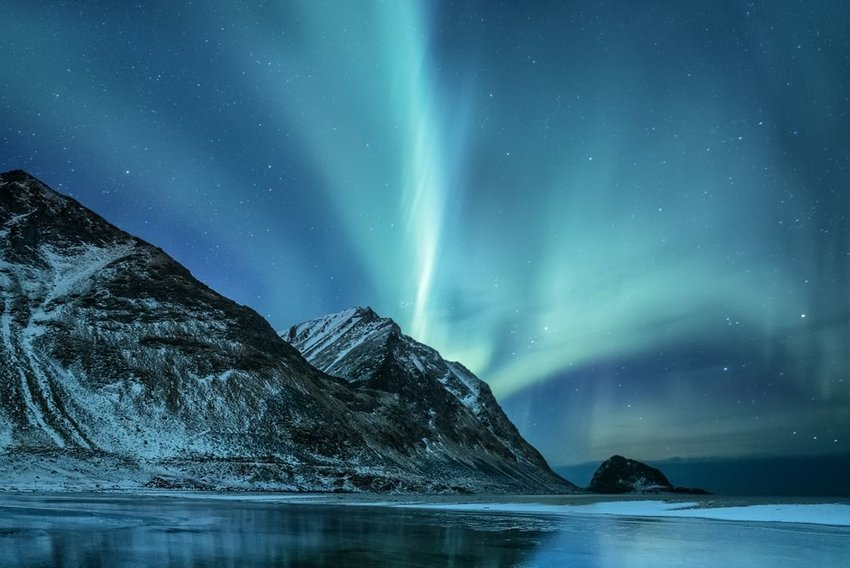 Lights over mountain in Norway
