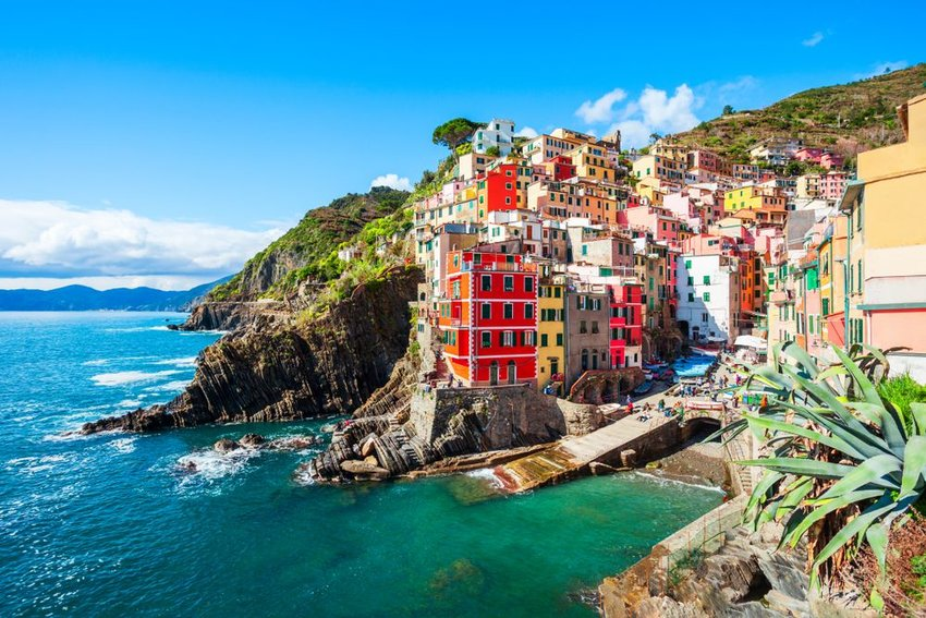 Colorful buildings on the water