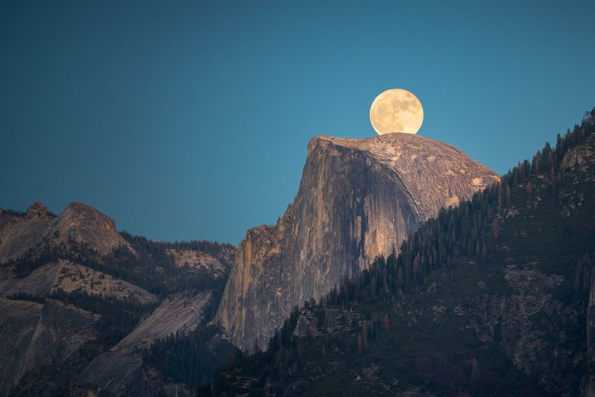 Supermoon over Yosemite National Park