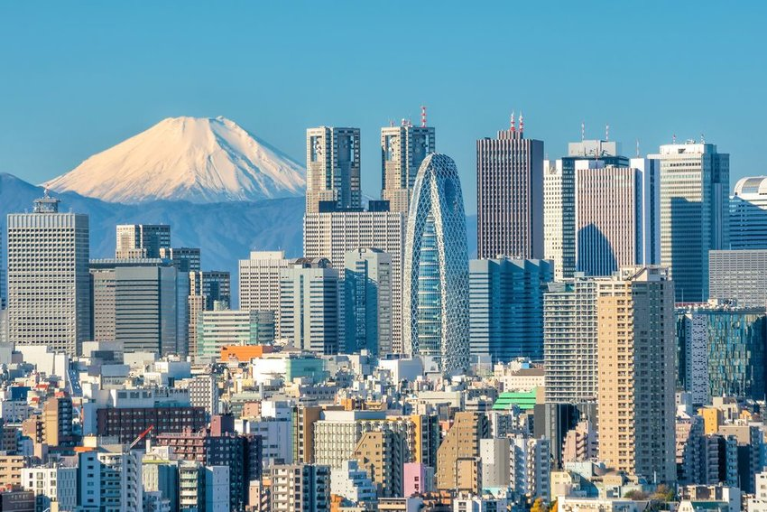 Skyline of Tokyo with mountain in background