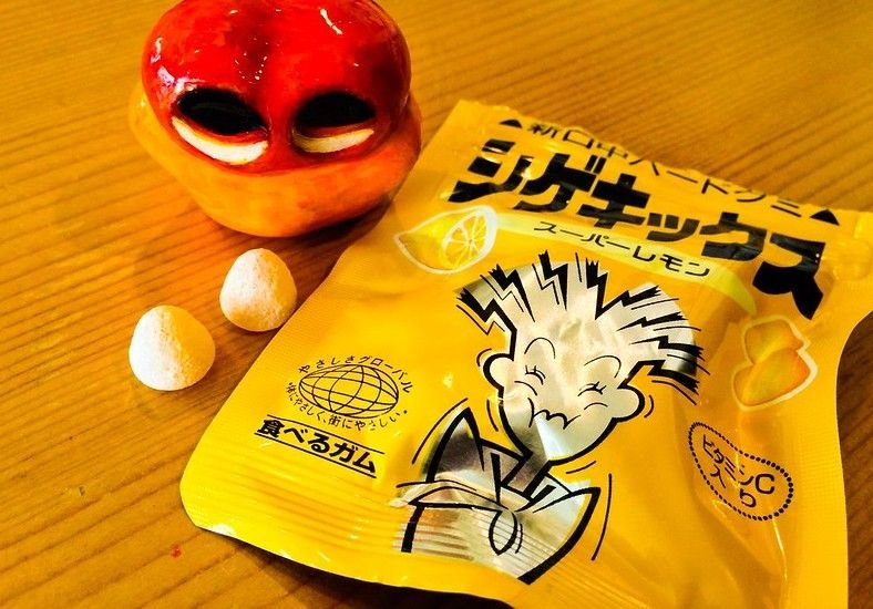Shigekix lemon candy package with two candies on table