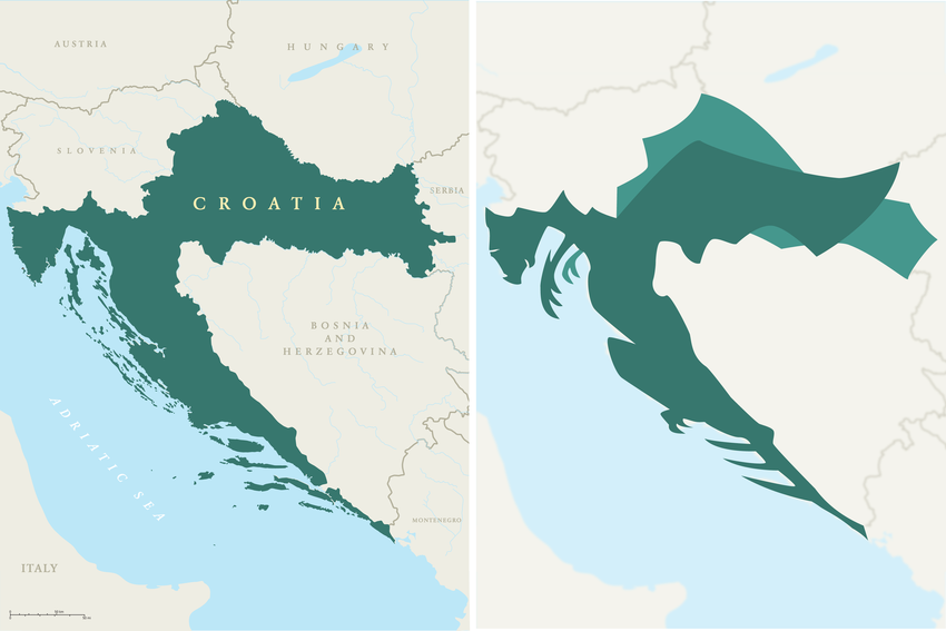 Map of Croatia with clear view of the country looking similar to a dragon