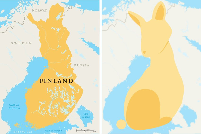 Map of Finland with clear view of the country looking similar to a rabbit