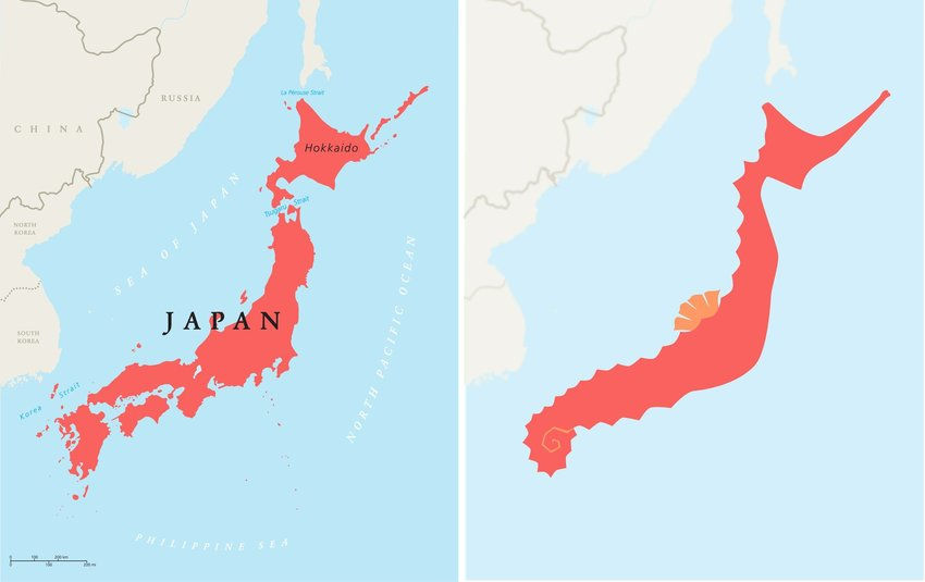 Map of Japan with clear view of the country looking similar to a seahorse