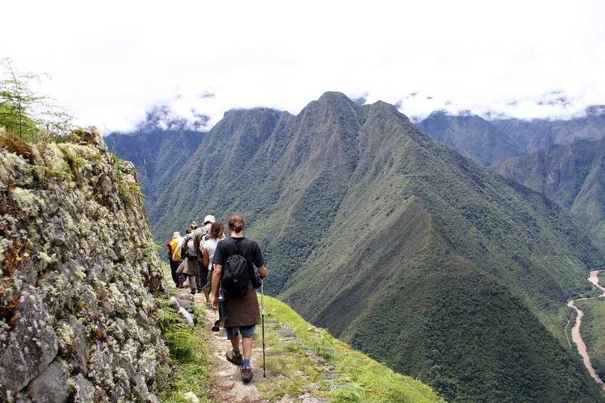 Travelers hiking the Inca Trail to Machu Picchu
