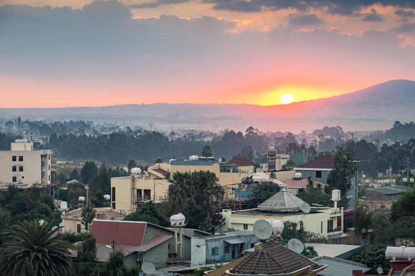 Addis Ababa houses and mountains at sunrise