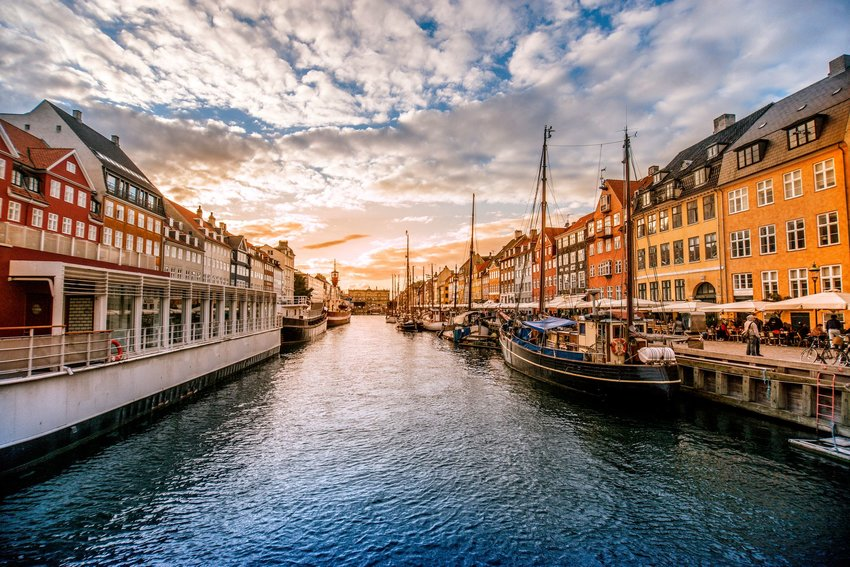 Houses, canal, and boats in Old Town Copenhagen