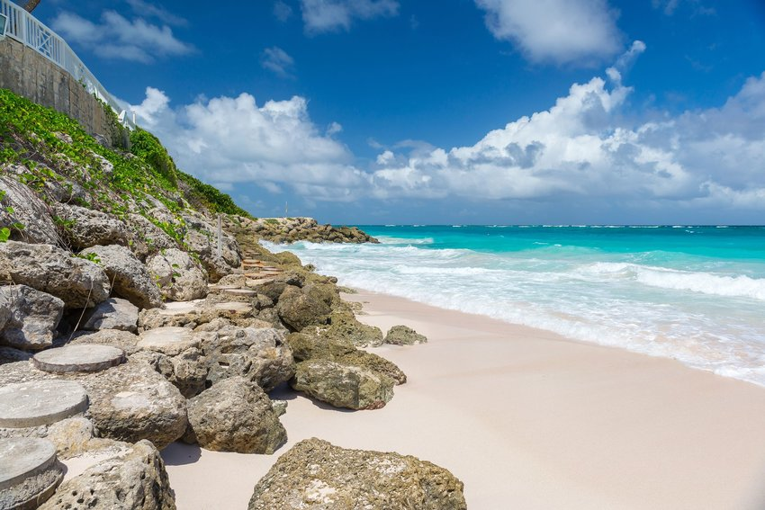 Rocky pink sand beach at Crane Beach, Barbados