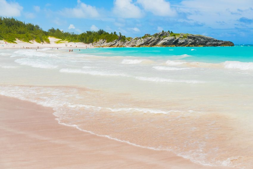 Pink sand beach at Horseshoe Bay Beach in Bermuda