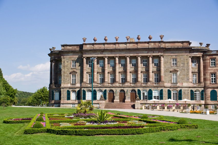 The sidewing of the Baroque architecture and gardens of Schloss Wilhelmshohe in Germany.