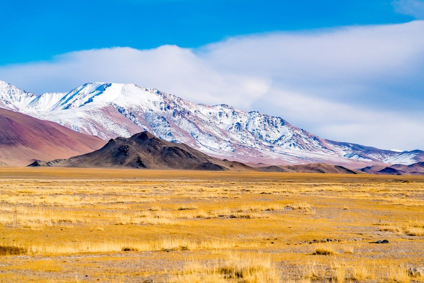 View of the beautiful mountain and the large yellow steppe in the sunny day at Ulgii in the western Mongolia