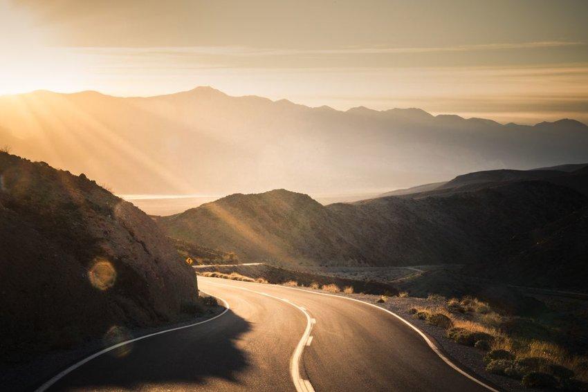 Winding road between mountains