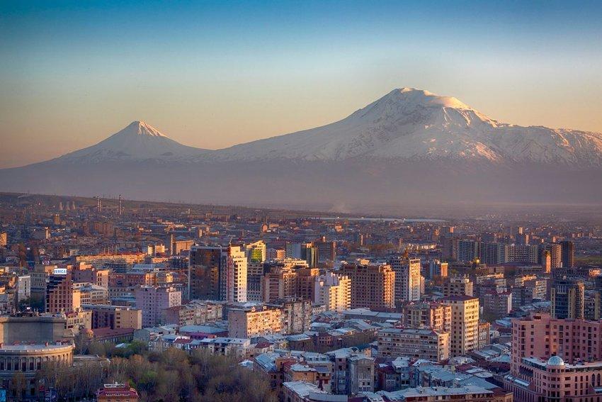 Yerevan, capital of Armenia in front of Mt. Ararat