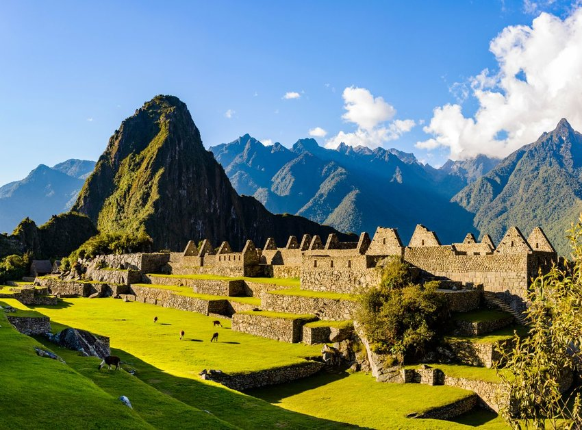 Ruins of the ancient Inca city of Machu Picchu, Peru