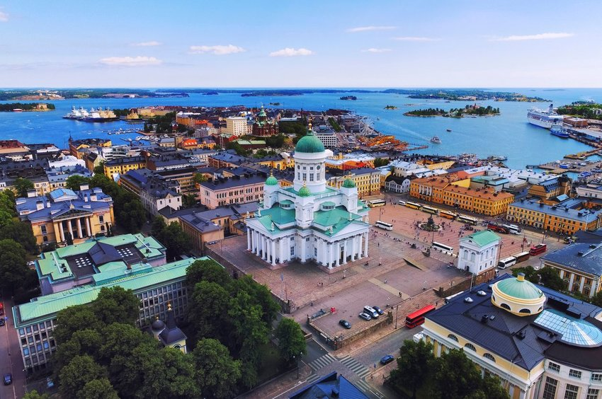 Aerial view of city in Finland