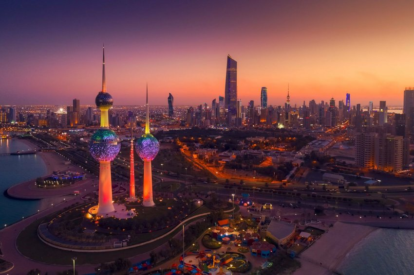 Kuwait city scene at dusk
