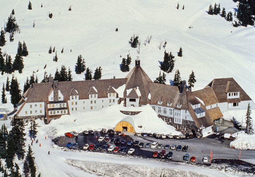 Timberline Lodge from above surrounded by snow