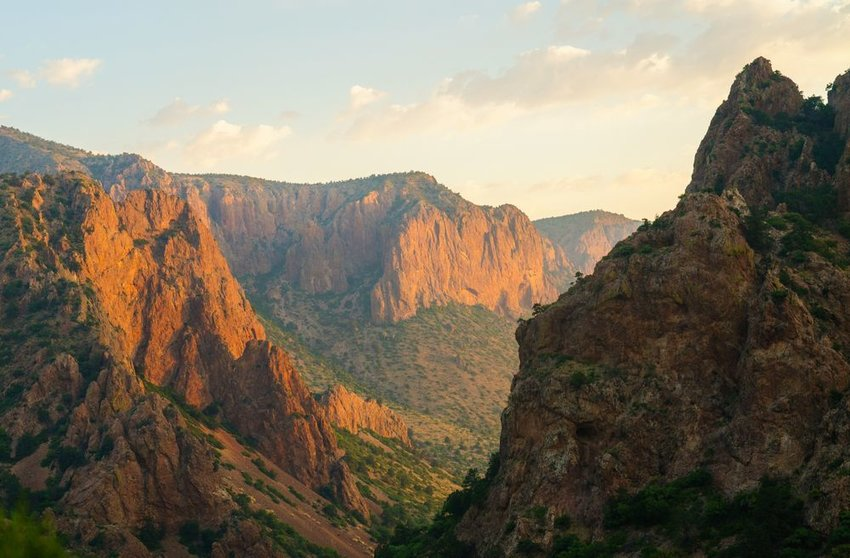 Chisos Mountains at sunrise at Big Bend National Park