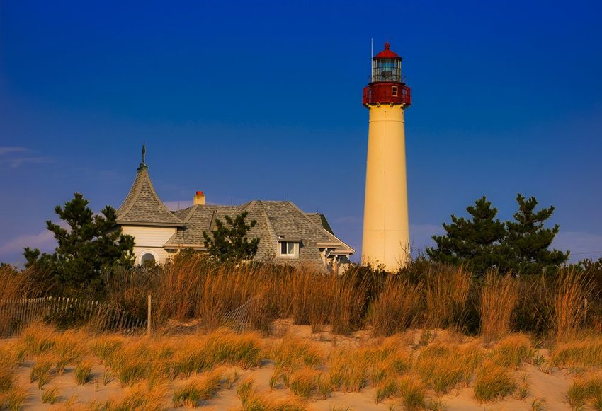 Cape May Point lighthouse in the evening light in Cape May, New Jersey