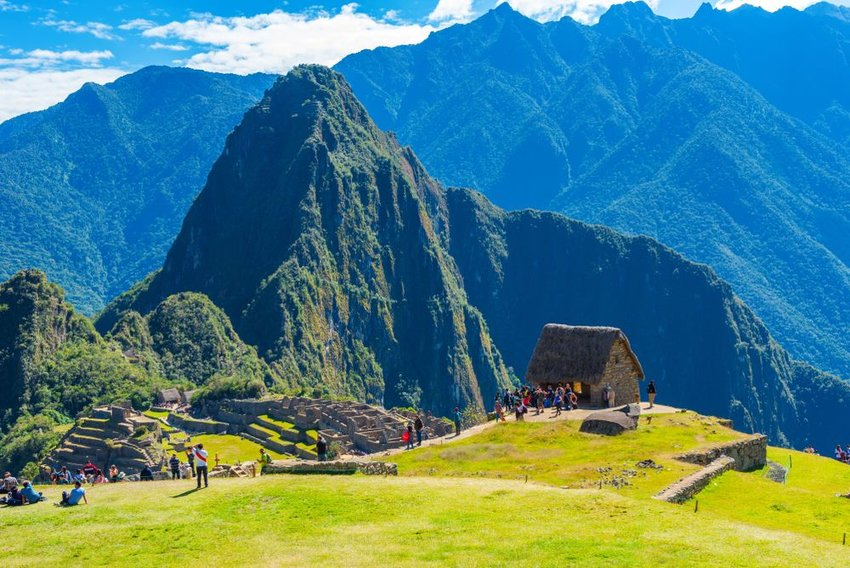 People visiting Machu Picchu site
