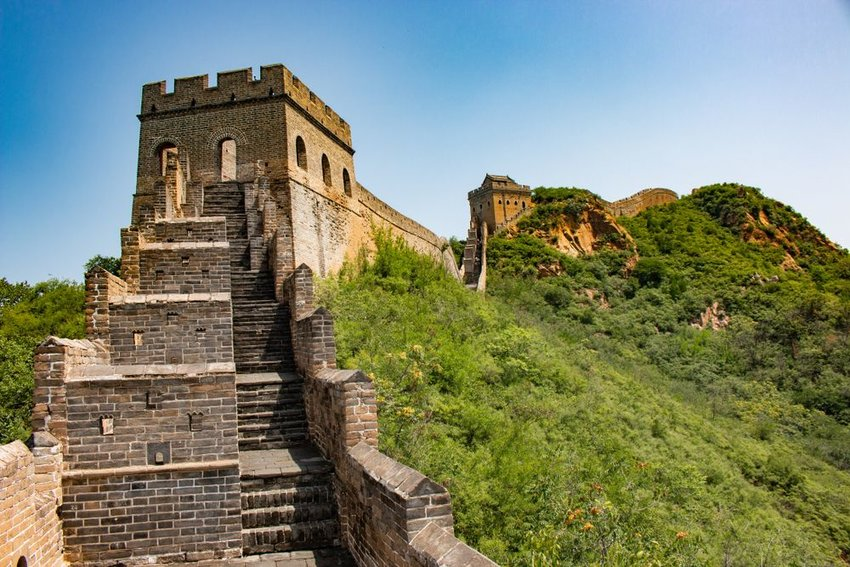 Closeup view of stairs at the Great Wall of China