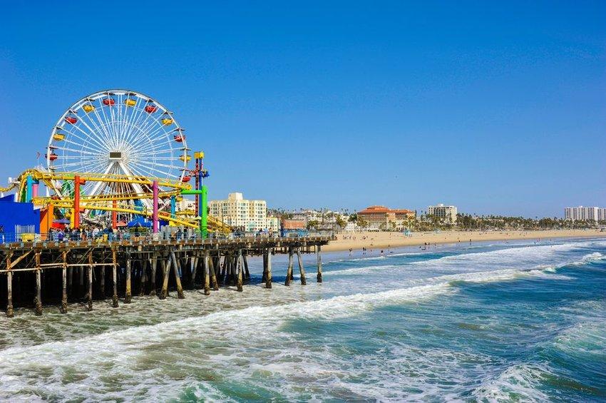 Santa Monica pier with ferris wheel on the beach